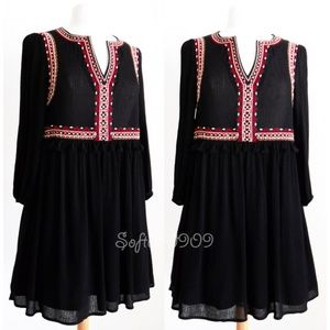 Black Embroidery Tassel Split Neck Cute Boho Dress